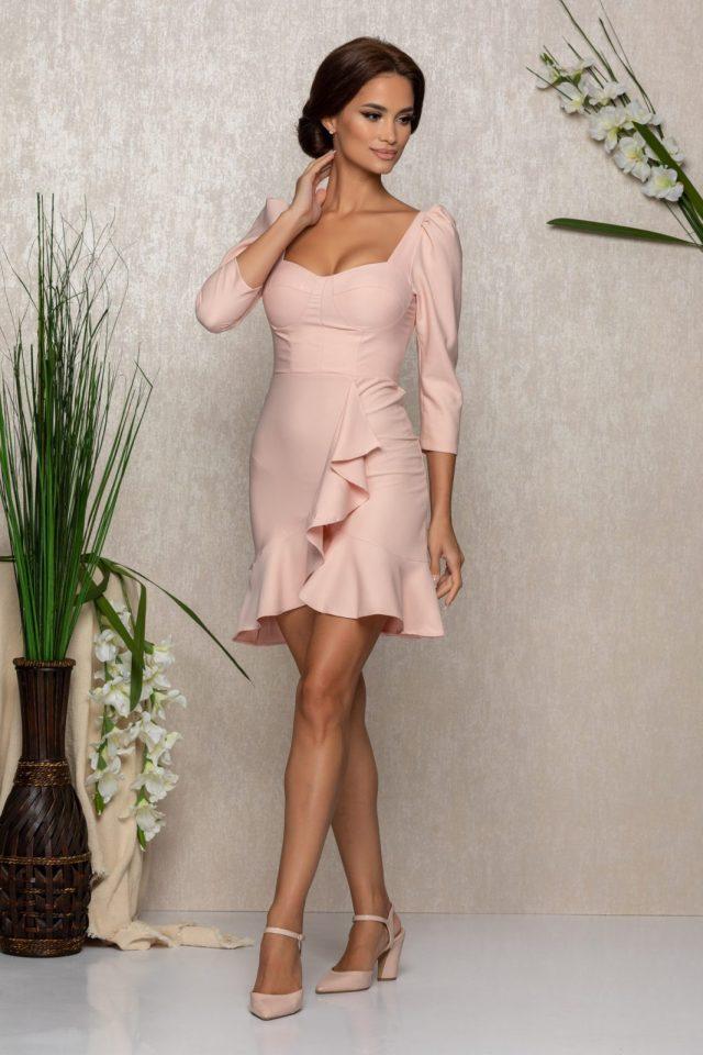 Rochie eleganta scurta cu maneci trei sferturi