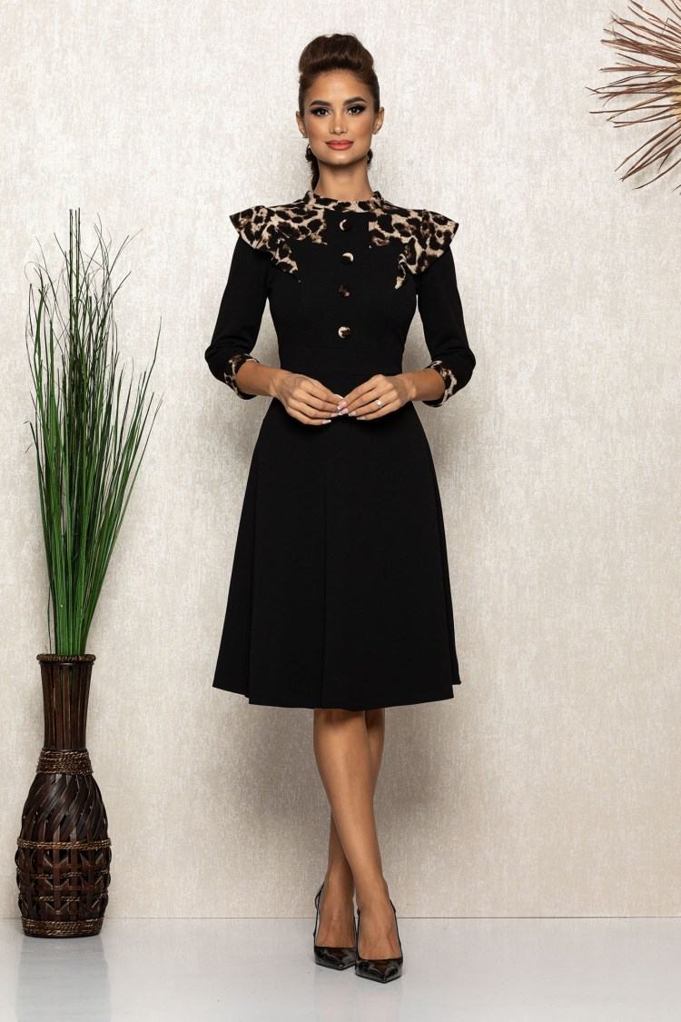 Rochie midi eleganta neagra cu detalii animal print