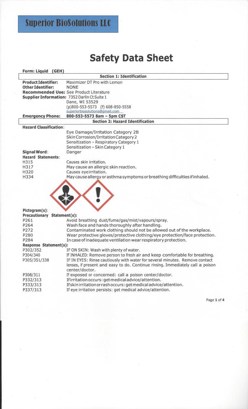 Maximizer DT Pro SDS Sheet Page 1