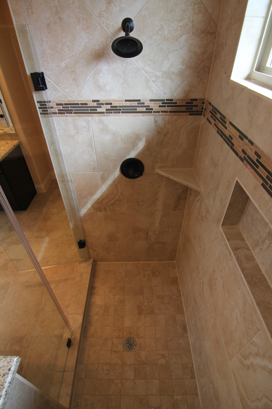 tiled shower - Master bathroom