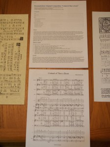 Documentation and modern sheet music.