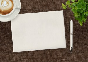 NOTECARD WITH PEN AND COFFEE CUP