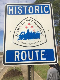 Signs designate the route marchers walked from Selma to Montgomery.
