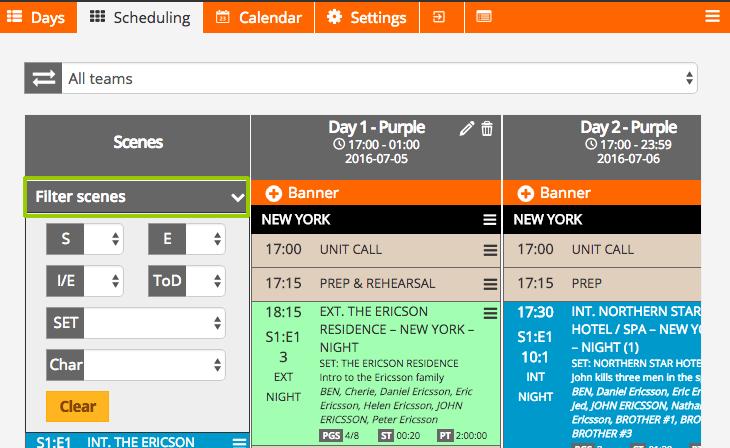 Scheduling-filter episodes