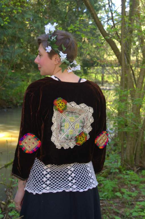 Upcycled Velvet Jacket - Tribal Girl - View from behind