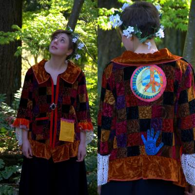 Upcycled Velvet Jacket - Gypsy Road Traveler - Collage