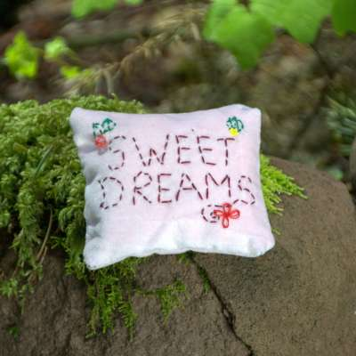 embroidered dream pillow pink