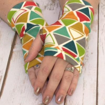 Organic Jersey Fingerless Gloves - Bright Abstract Pattern