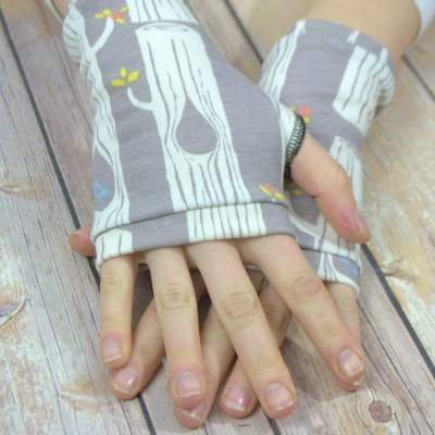 Organic jersey fingerless gloves forest trees