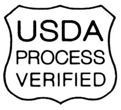 USDA shield showing cows have been fed grass and forage only (but also still in pens, with hormones and antibiotics)