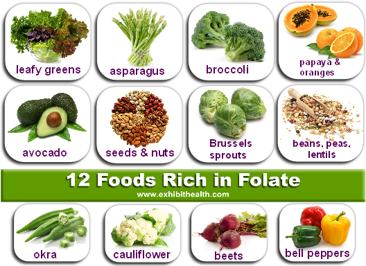 Is folate in foods safe in MTHFR mutants? In these foods YES! For MTHFR C677T or MTHFR A1298C mutants. Thanks to exhibithealth.com for the great image.