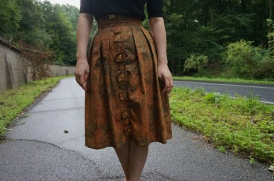 Self-drafted skirt with button border