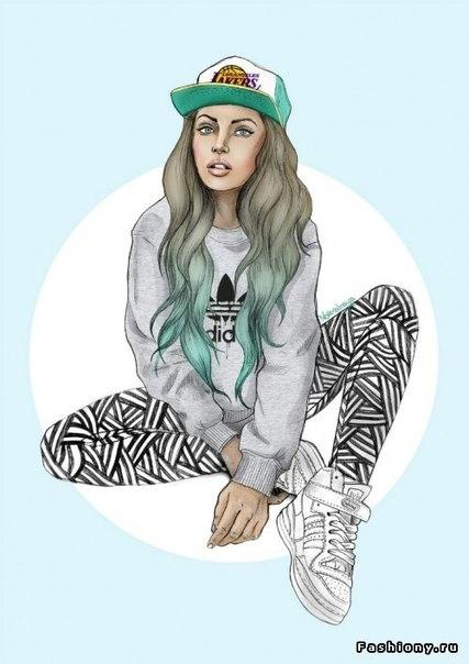 Нарисованные девушки в стиле swag карандашом - картинки