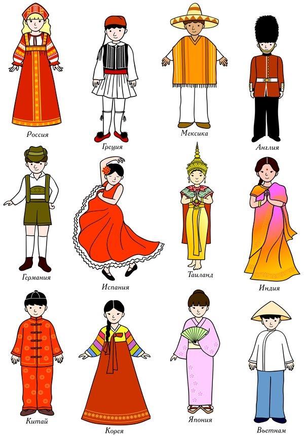 Народы России - раскраска с названиями для детей