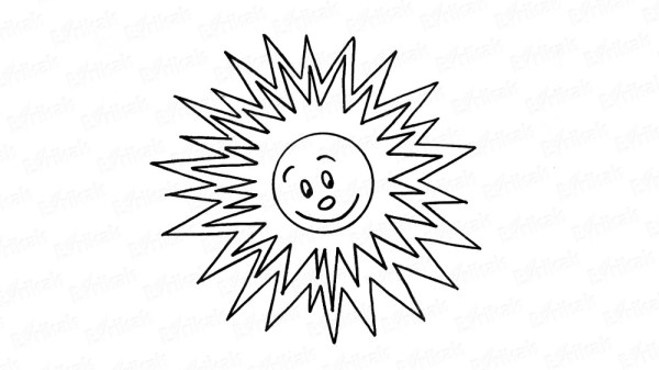Рисунок солнца с улыбкой для детей