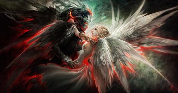Демон парень и ангел девушка - рисунки