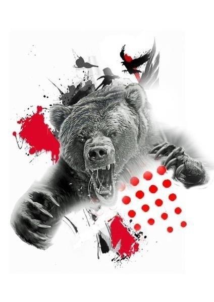 Эскиз тату медведь треш полька (16 фото)