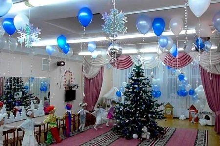 Идея украшение зала в детском саду в новый год