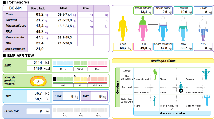 Avaliação do biotipo conforme quantidade de massa magra e gordura corporal. A taxa metabólica basal estimada é de 1460 calorias no exemplo da figura.