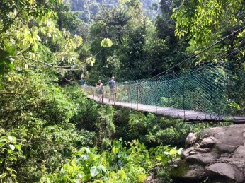 Abenteuerliche Hängebrücke über den Rio Buritaca
