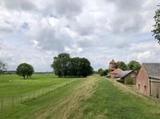 Auf dem Deich bei Haseldorf - im Hintergrund die alte Haseldorfer Deichmühle