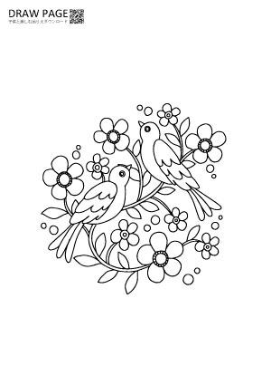 鳥と花の塗り絵 無料 子供大人高齢者まで三世代で楽しめる 二羽の鳥