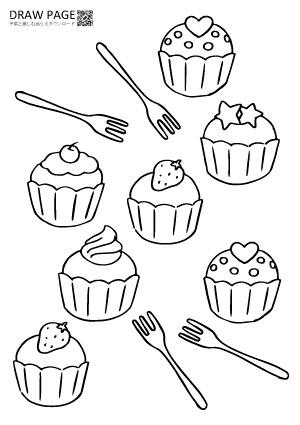 カップケーキの塗り絵 無料 子供大人高齢者まで三世代で楽しめる