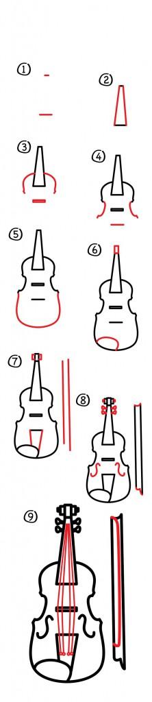 تعلم رسم آلة الكمان