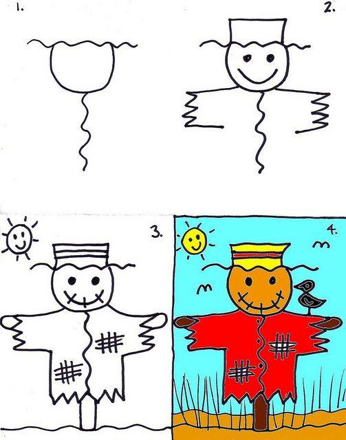 تعلم رسم فزاعة عصافير