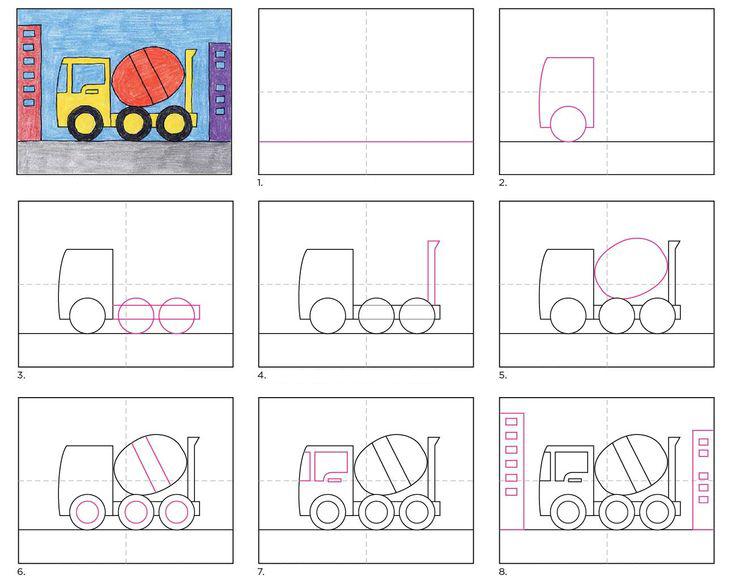 تعلم رسم شاحنة الإسمنت
