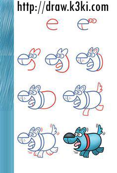 تعلم رسم كلب من حرف e