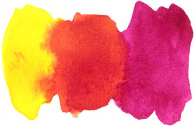 Mixing Red with watercolor paints from Magenta and Yellow.