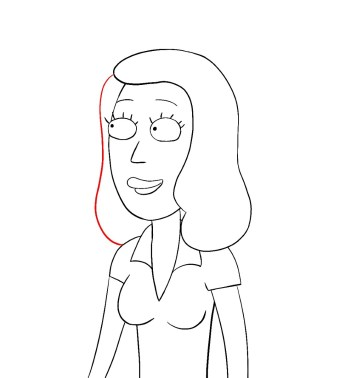 How To Draw Beth Rick And Morty Step 9