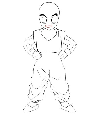 How To Draw Krillin Step 12
