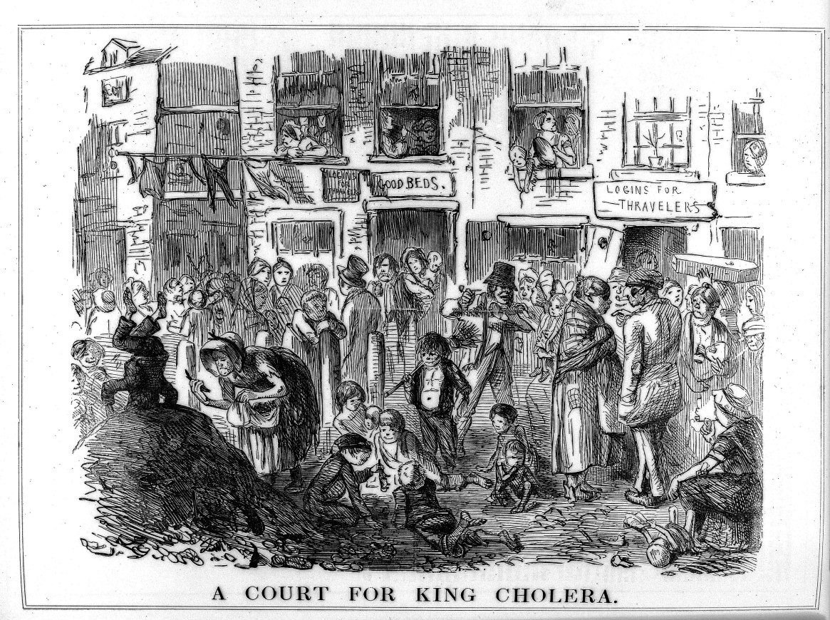 A Court for King Cholera, (1852), Punch Magazine, Courtesy of Wellcome Collection
