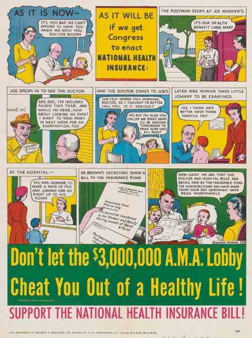 Late 40s comic sponsored by the administration supporting National Health Care
