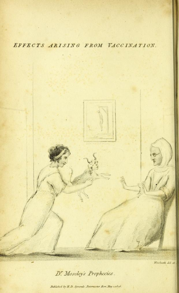"""Dr. Moseley's Prophecies"" illustration from Robert John Thornton's Vaccinae Vindica (1806)"