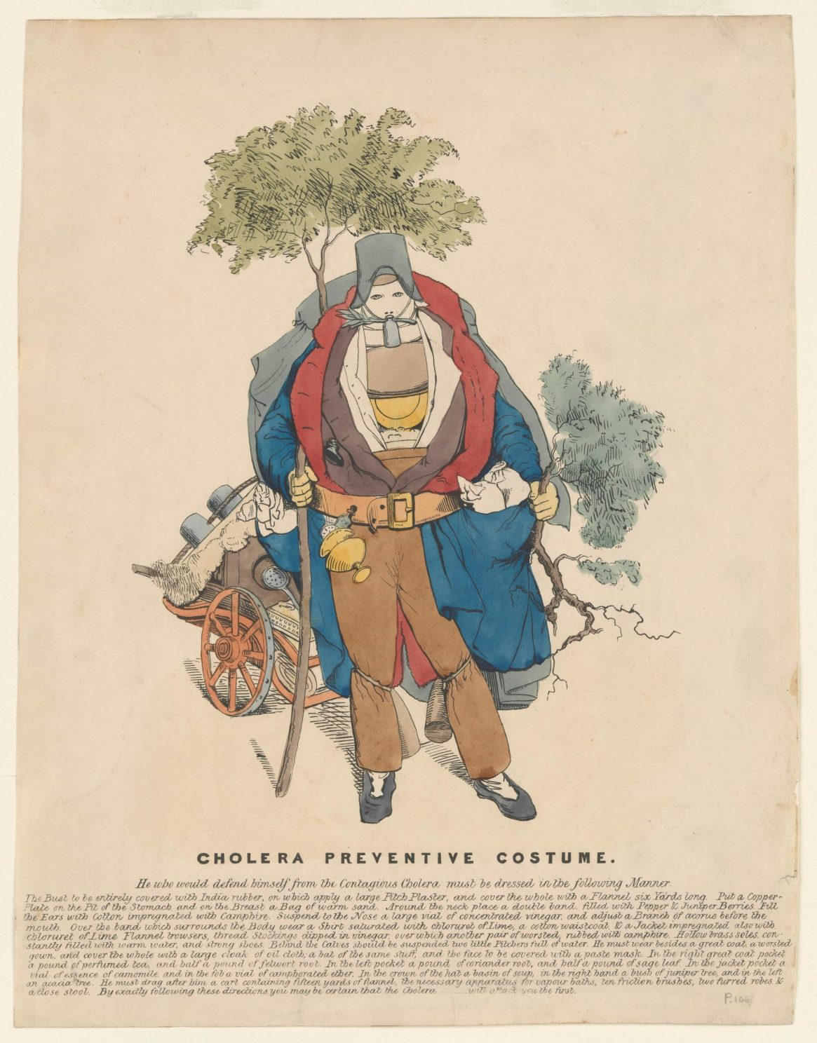 Cholera Preventive Costume, (1832), Publisher: Thomas McLean, Courtesy of Wellcome Collection