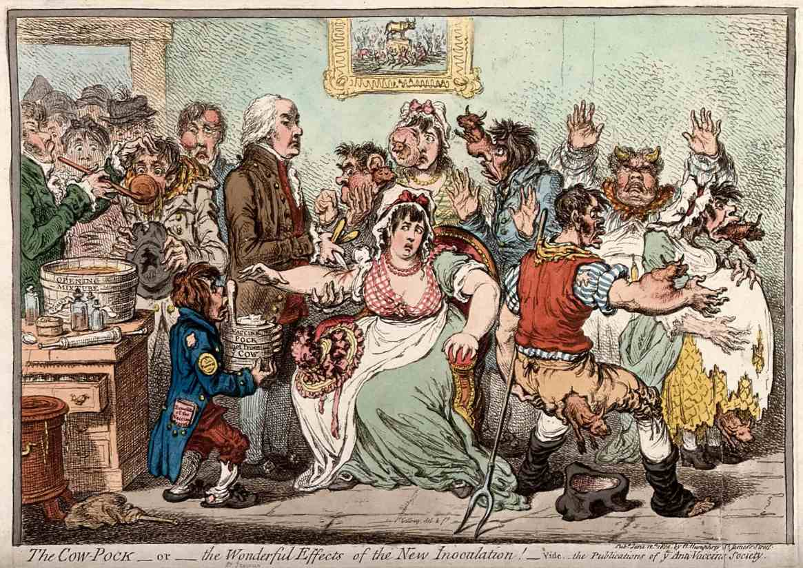 James Gillray, The Cow-Pock, or, the Wonderful Effects of the New Inoculation!, [1802], Courtesy of the Wellcome Collection