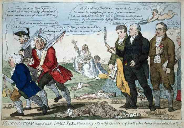 Isaac Cruikshank, Vaccination against Small Pox or Mercenary of Merciless spreaders of Death and Devastation driven out of Society!, (1808), Courtesy of the Wellcome Collection.