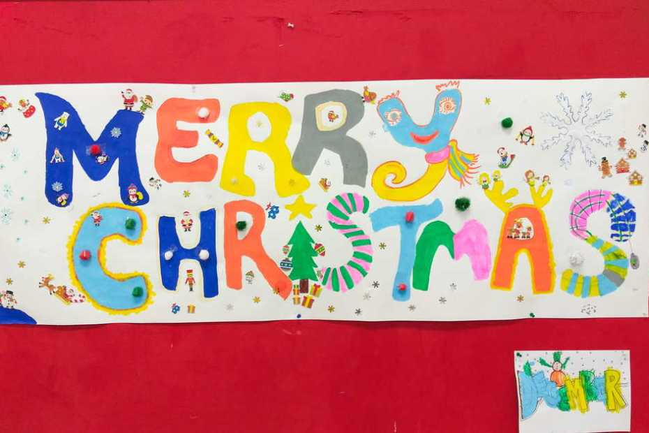 Merry Christmas banner by North United Communities kids group!