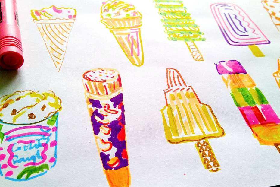 Creative Time - doodling ice cream cones and lollies