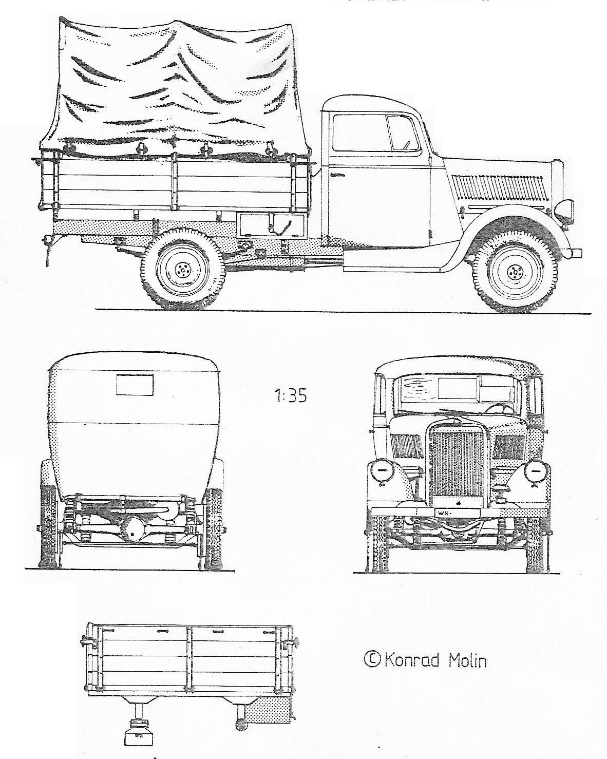 Opel Blitz Truck Blueprint