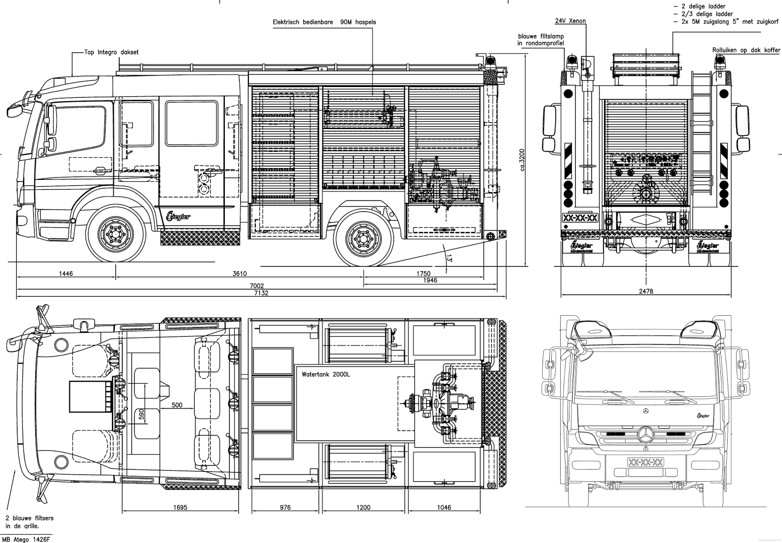 Mercedes Benz Atego Firetruck Blueprint