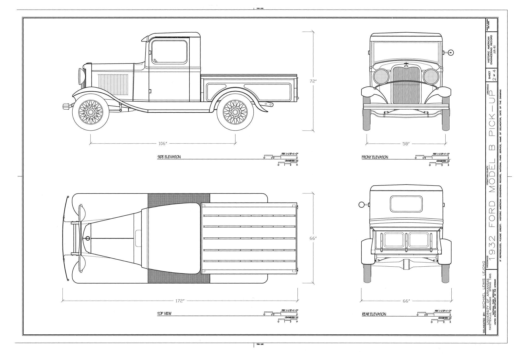 Ford Model B Pick Up Blueprint