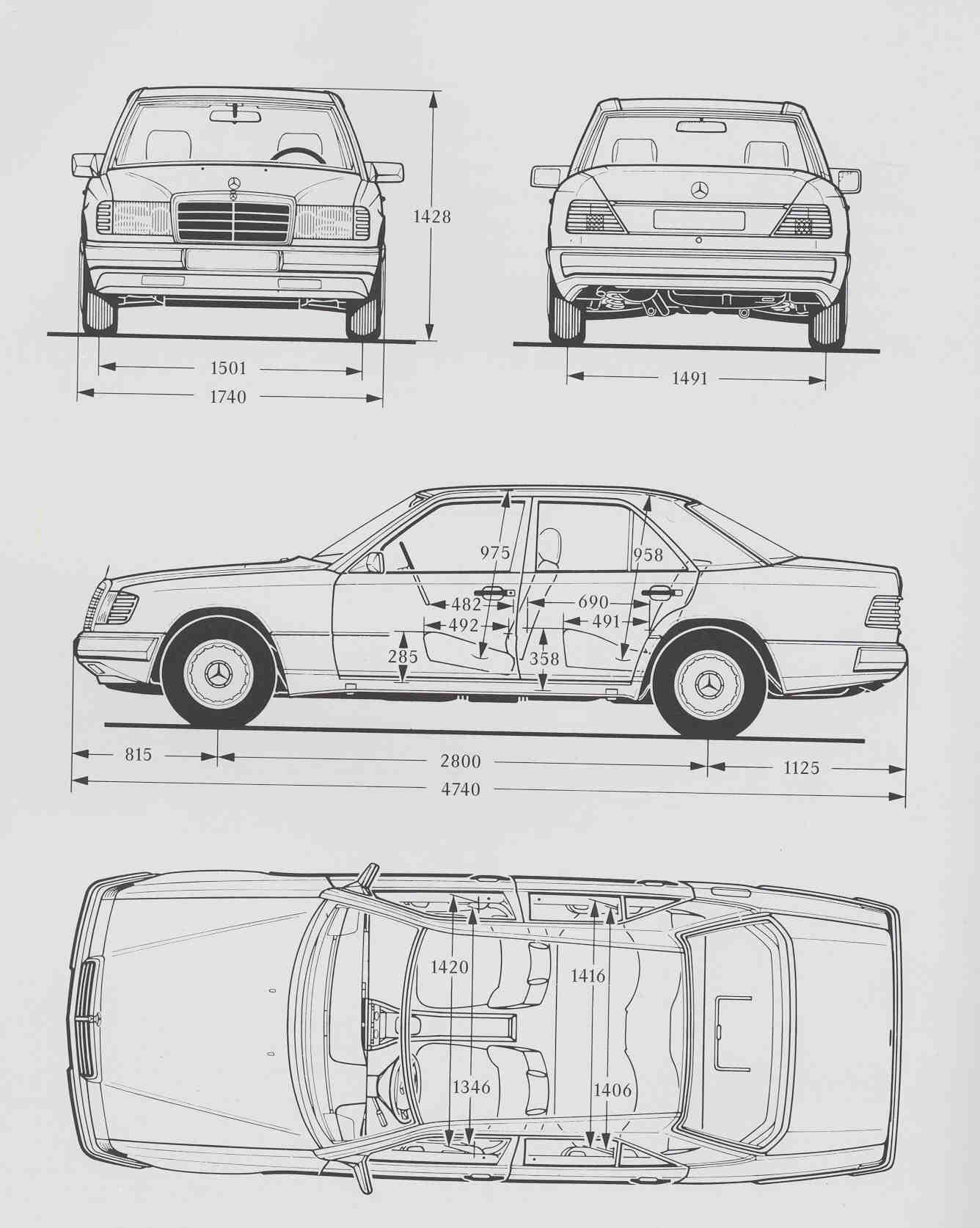 Mercedes Benz W124 Blueprint