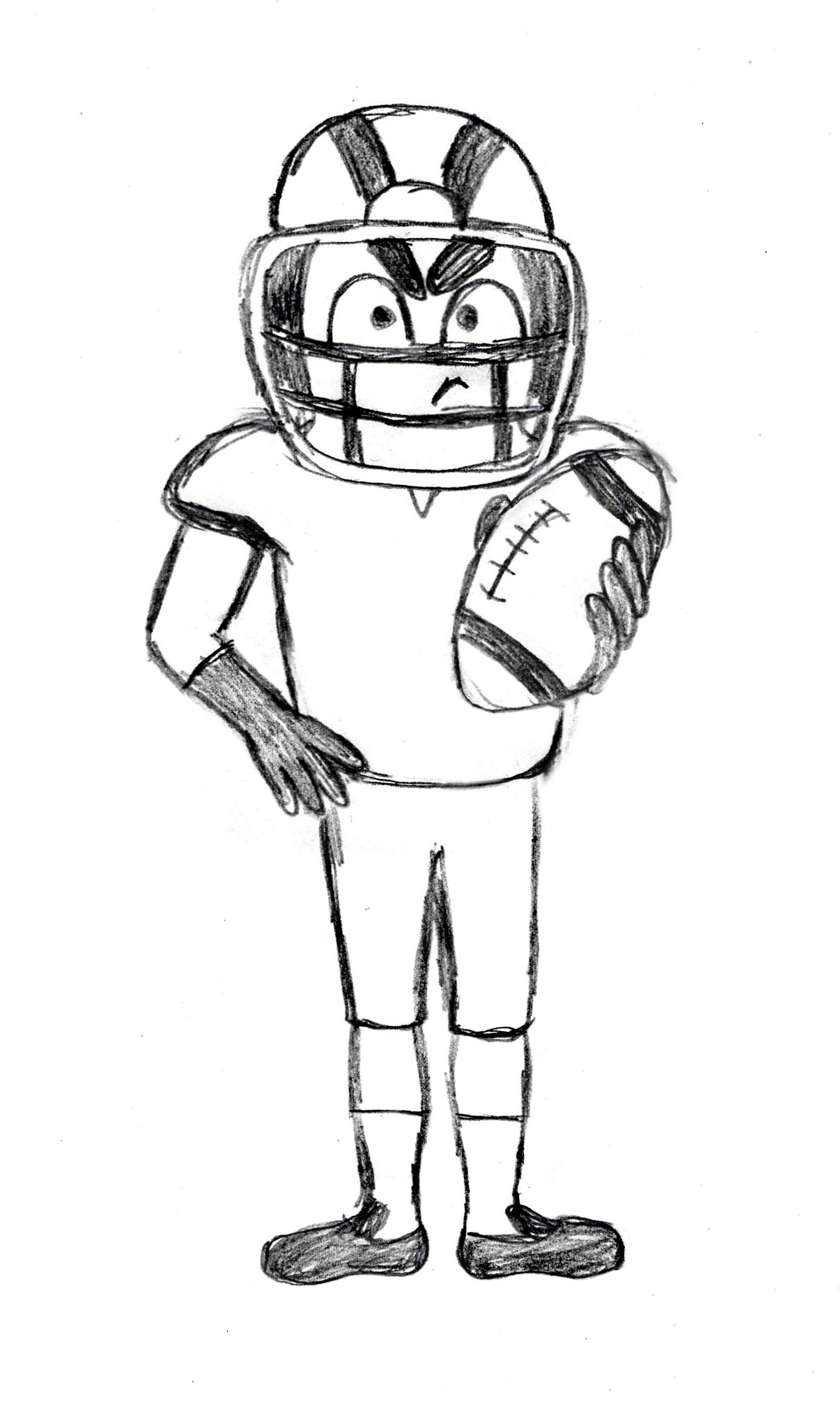 American Football Player Drawing Tutorial Drawingmanuals