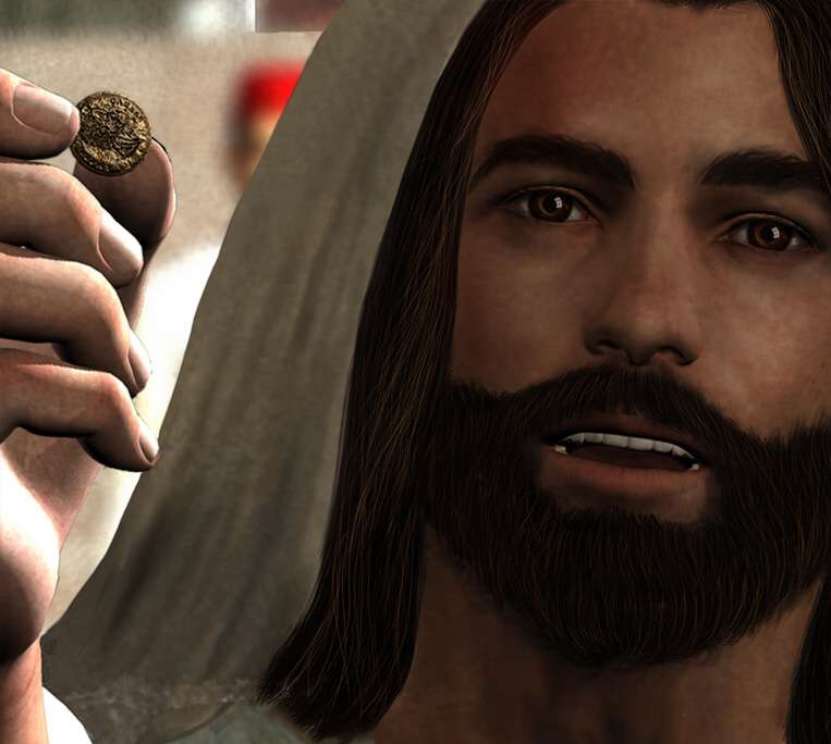 Jesus showing a coin - Drawing on the Word front page pic
