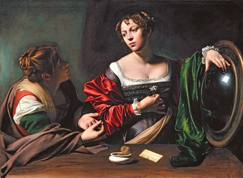 Martha and Mary Magdalene by Caravaggio (1598)