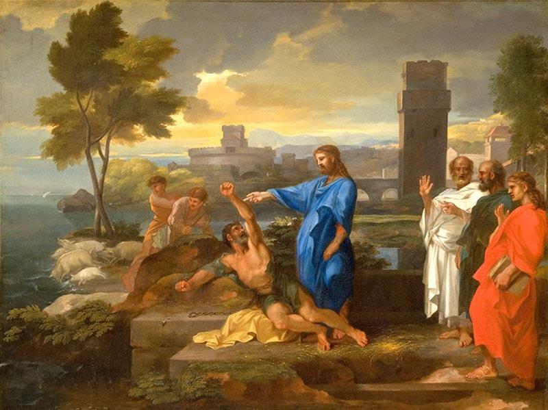 The Gerasene demoniac by Sebastien Bourdon (1653-57)